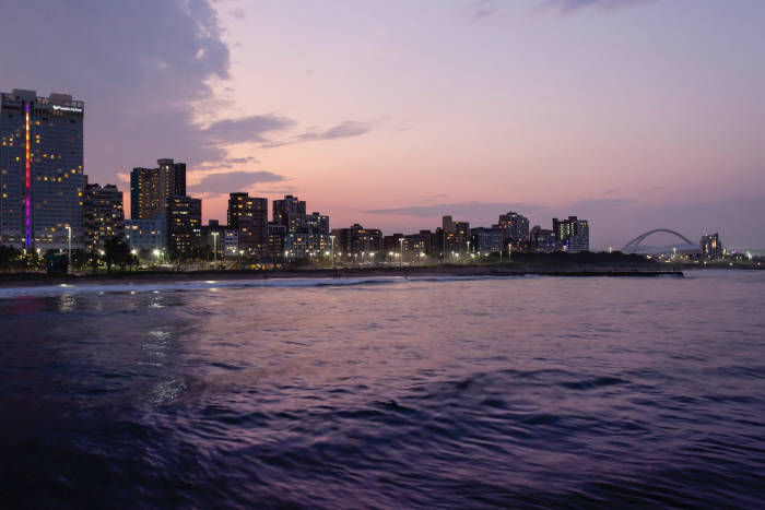 Evening photo of Durban taken from the ocean