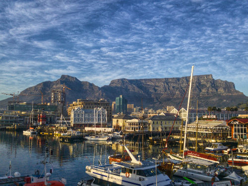 Docks at Cape Town with Table Mountain in the background